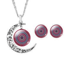 Zen Art Glass Moon Pendant & Chain Necklace With Earrings Set