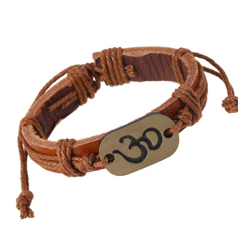 Beach Style Leather Adjust Size Lace-up Yoga OM Bracelets