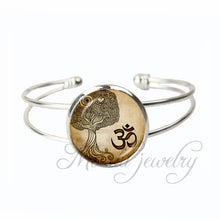 Mandala Open Cuff Bangle Sun And Moon Tibetan Sanskrit Om Symbol Bracelet