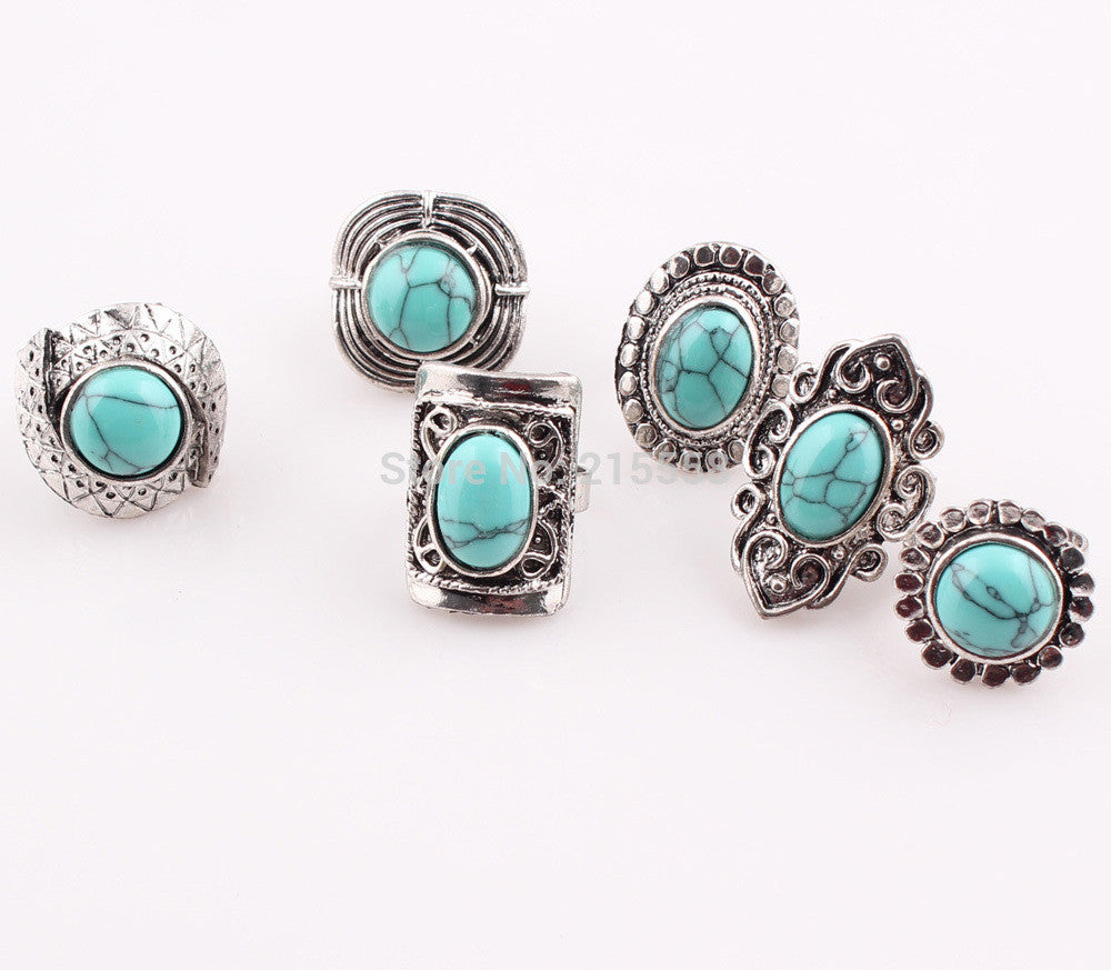 Tibeten Style Turquoise Stone Silver Plated 5PCS Rings Set for Women