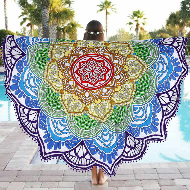 Fashion Polyester Round Beach Pool Home Shower Towel Blanket Table Cloth Yoga Mat