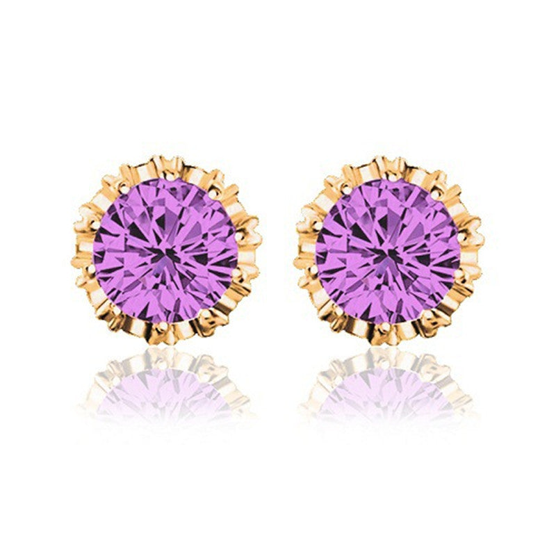 Round Shape 2 Carat Cubic Zircon Crown Stud Earrings