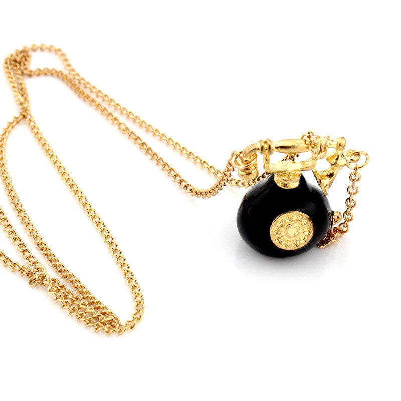 Retro Phone Pendant Necklace Long Style Sweater Chain