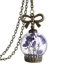 Dried Wild Flowers Glass Necklace