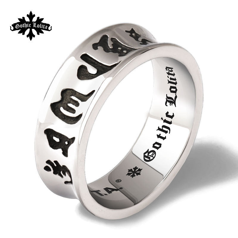 Lucky Om Ma Ni Pad Me Hum Six Words Letters  Stainless Steel Ring For Men