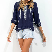 Ethnic Style Loose V Neck Cotton/Linen Blouse Shirt for Women