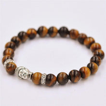 Natural Stone Silver Color Buddha Bracelet