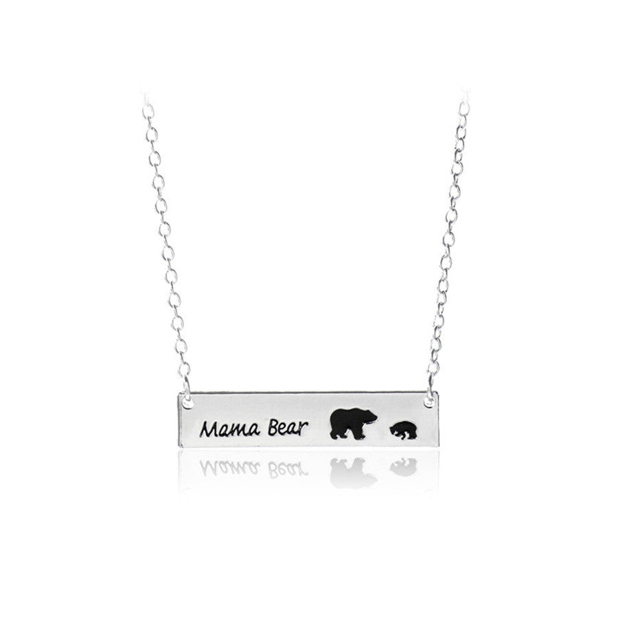Cute Mama and Baby Bear Necklace