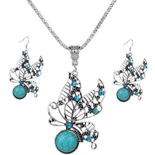 Jewelry Set Retro Butterfly Turquoise Necklace and Earrings
