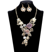 Women's Elegant Diamond Flowers Necklace and Earrings Jewelry Set