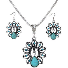 Jewelry Set Bohemia Style Peacock Turquoise Necklace and Earrings