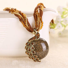 Women Rhinestone Peacock Pendant Statement Necklace