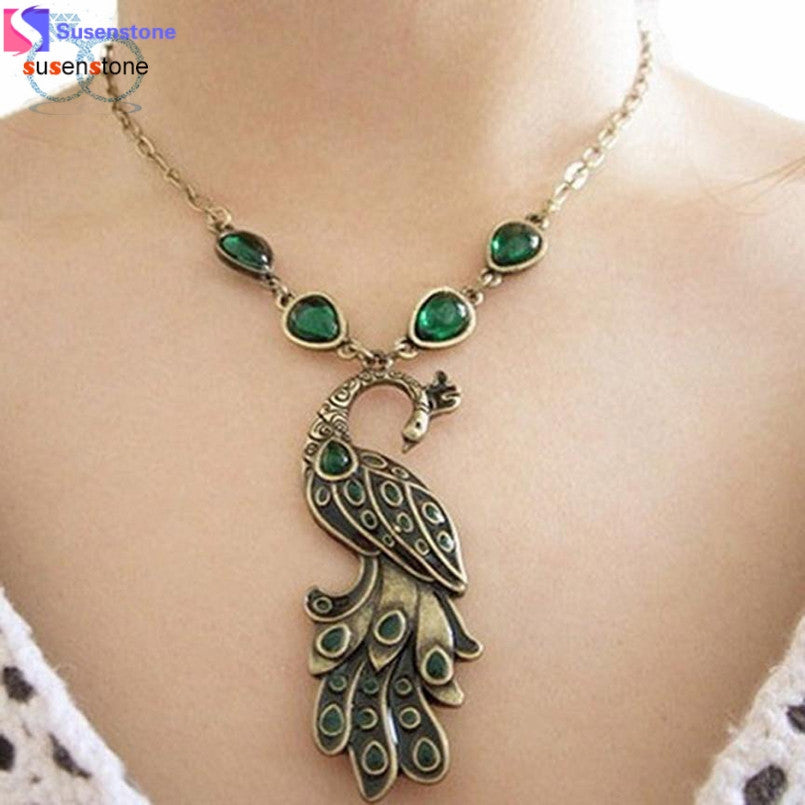 Vintage Style Green Enamel Peacock Necklace