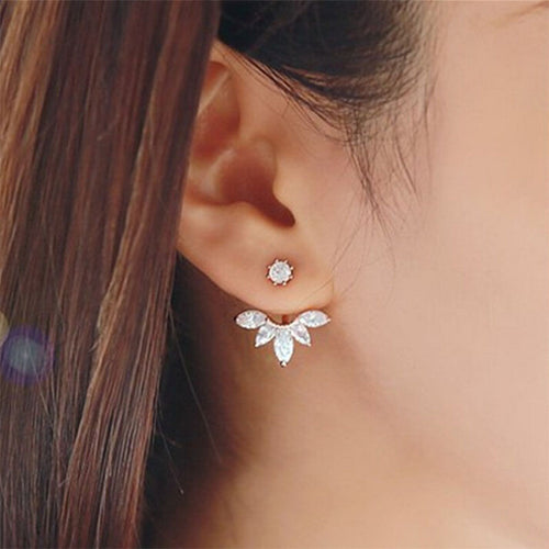 Silver Plated Leave Crystal Stud Earrings