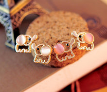 Cute Baby Elephant Opal Stud Earrings for Women