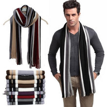 Men Striped Cotton Scarf With Tassels