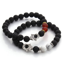 Nature Black Lava Beaded Bracelet Energy Stone Hamsa Hand Bangle