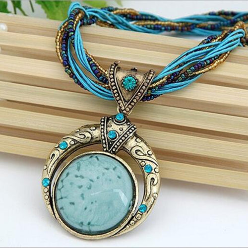 Multilayer Beads Chain Crystal Gem Grain Pendant Necklace