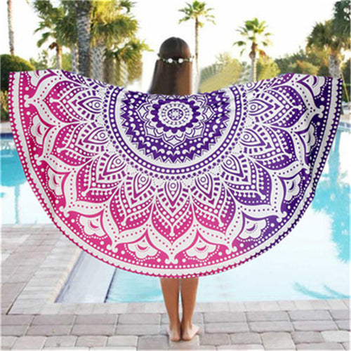 High Quality  Round Beach Pool Home Shower Towel Blanket Table Cloth Yoga Mat
