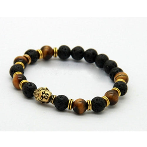 Tiger Eye and Black Lava with Gold Buddha Mala Bracelet (Energy Stone Beads)