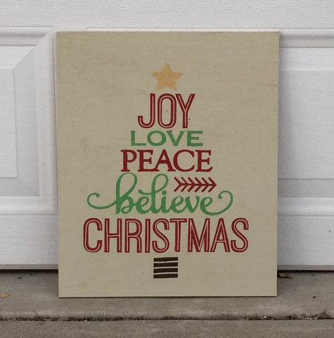 Joy, Love, Peace, Believe, Christmas Tree