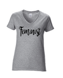 FEMINIST AF or FEMINIST Short Sleeve V-neck Women's T-shirt