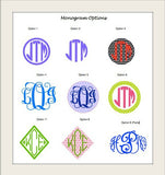 Monogrammed Decals - Solid Colors 5-8 Inches (Medium)