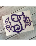 Monogrammed Decals - Solid Colors 9-12 Inches (Large)