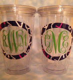 "Lilly ""Inspired"" Monogrammed Double Pane Acrylic Cups, with Straw"
