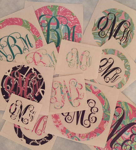 Monogrammed Decals - Lilly Inspired Print 9-12 Inches (Large)