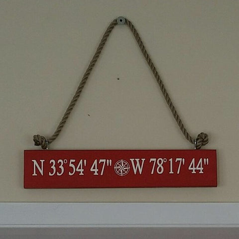 Custom Hand Painted Wood Latitude-Longitude Coordinates Sign,