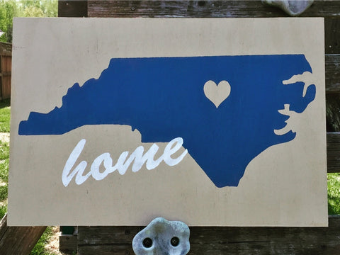 Repurposed wood HOME state sign, north carolina, any state, painted sign