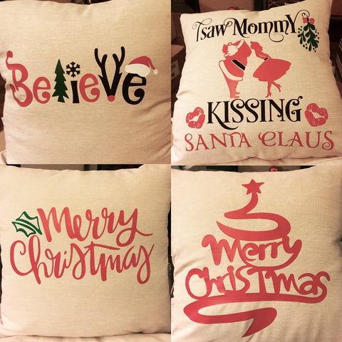 "Decorative Christmas Throw Pillows, 16""x16"" with Pillow Forms"