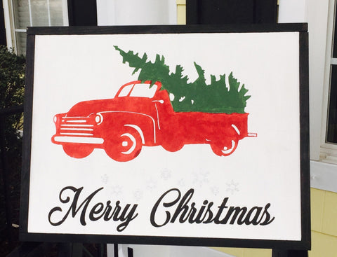 Christmas Truck Hand Painted Wood Sign
