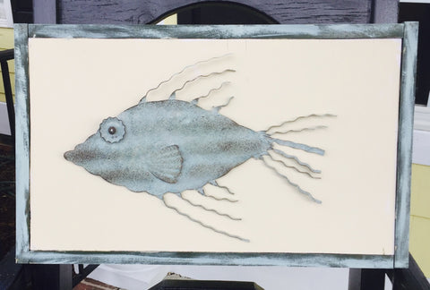 Metal Fish and Hand-painted Wood Sign