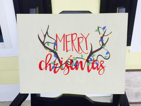 Merry Christmas Hand Painted Wood Sign