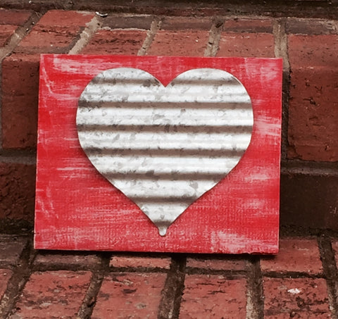 Metal Heart Hand-painted Wood Sign