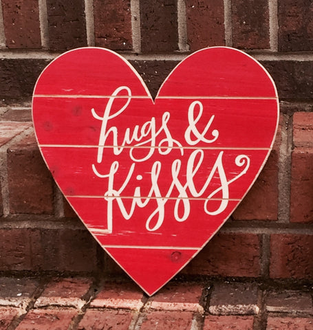 Valentine's Hugs and Kisses Hand-painted Wood Sign