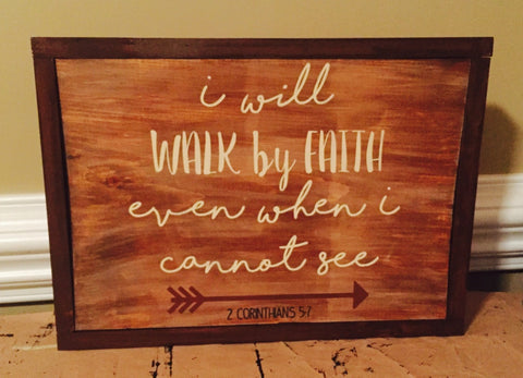 Walk by Faith Scripture Hand-painted Wood Sign