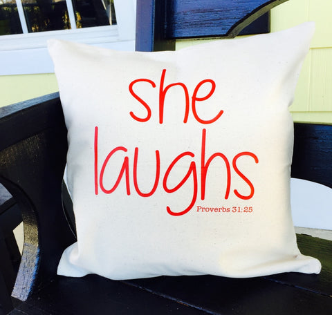 "Decorative Inspirational ""She Laughs"" Throw Pillows, 16""x16"" with Pillow Forms"