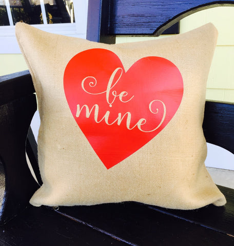 "Valentine ""Be Mine"" Throw Pillows, 16""x16"" with Pillow Forms"