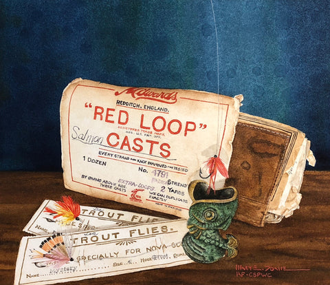 water-colour painting of a Red Loop Salmon Casts packaging, and Nova Scotian Trout Flies, resting against a old leather booklet resting on dark wood. The background is royal blue. By Nova Scotia artist Mary Doane.