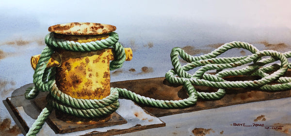 watercolour painting of a rusted yellow cleat and a twisted pile of faded green rope, by Nova Scotia artist Mary Doane