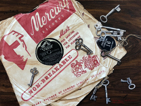 water-colour painting by Nova Scotia artist Mary Doane. Painting features a stack of two Mercury Records in crinkled paper sleeve resting on a dark wood surface with ten scattered antique silver keys