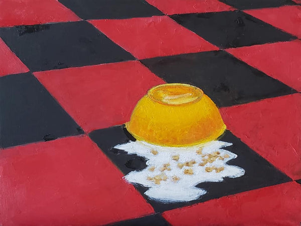 overturned yellow bowl of milk and cereal on a black and red checked floor by artist Ross Reynods