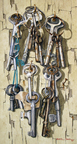 Watercolour painting of assorted antique keys hanging on hooks mounted to a painted peeling off-white board, by Nova Scotia artist Mary Doane.