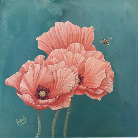 three poppies with bee by artist Nicole Wells