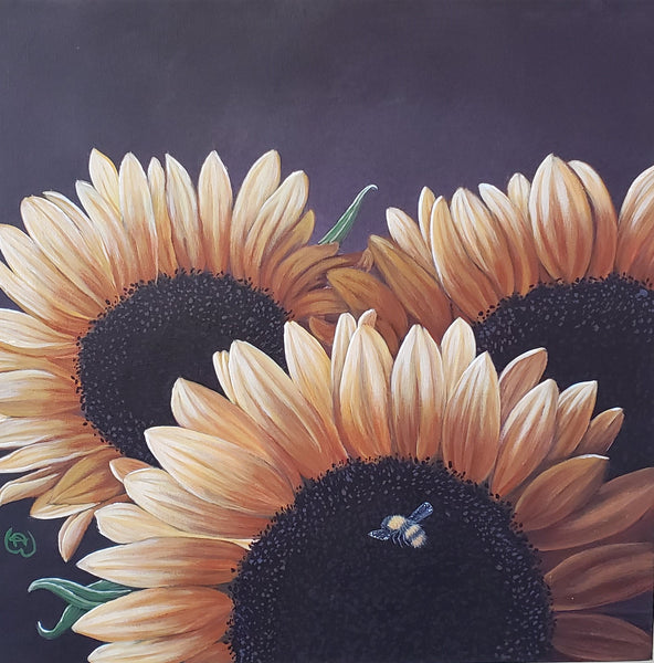 a bee with three large sunflowers by artist Nicole Wells