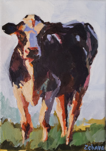 painting of a black and white dairy cow by artist Zehava Power