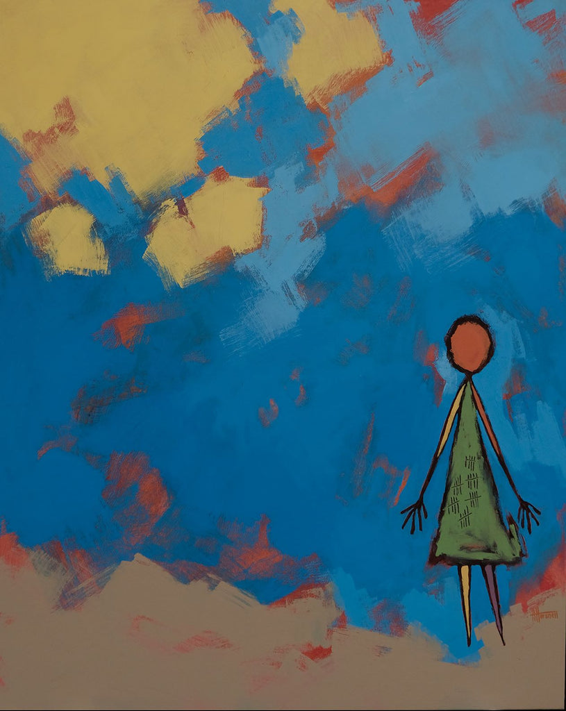 Partial abstract of a simplified human figure in a green dress with thirty ticks on it. The figure is in the bottom right corner, the background is blue splotches over a orange background. The top left corner is yellow, the figure stands on a tan ground.